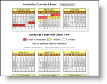 Post Web Availabilty Calendars